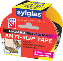 Anti-Slip Hazard Warning Tape - A Self adhesive tape ideal for problem steps, decking or pathways around the house where people can lose their footing. A quick and cost effective solution which could save a slip or trip related accident.
